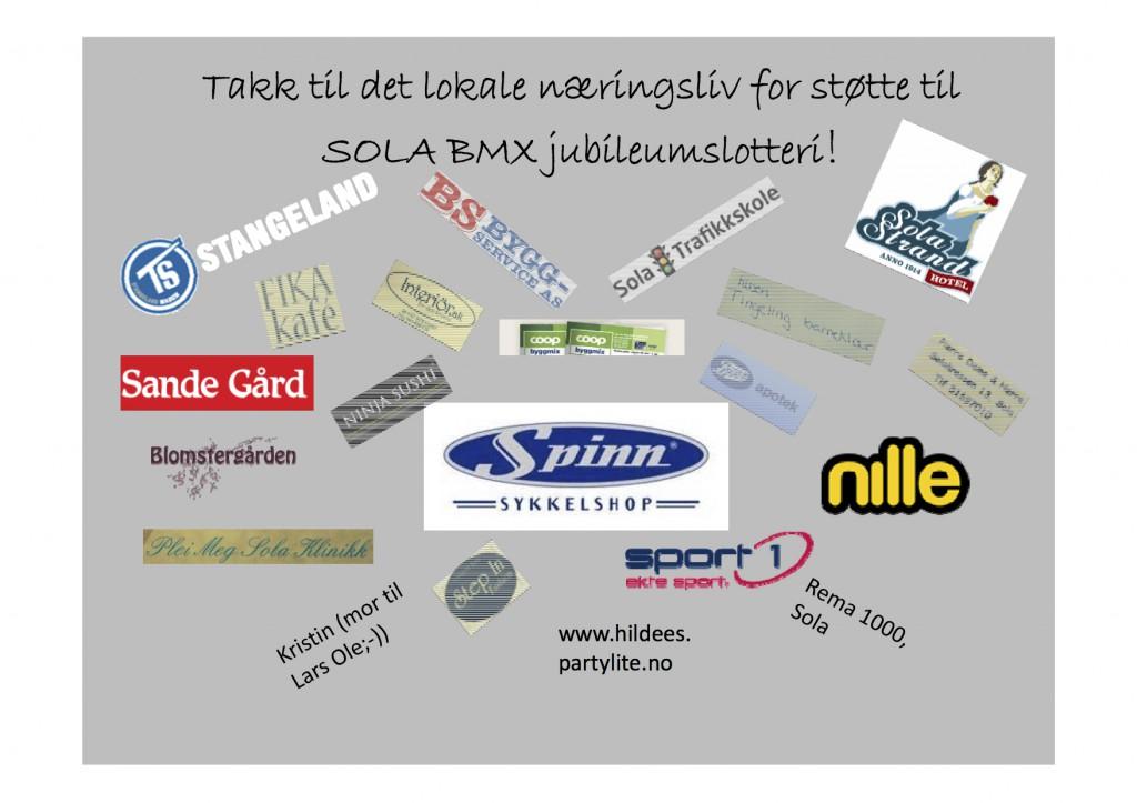 Takk til lokalt næringsliv for støtte til SOLA